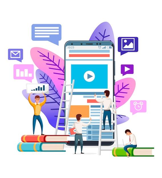 Modèle De Site Web Abstrait. Moderne. Les Personnes Naviguant Sur Internet Sur Smartphone. Illustration Sur Fond Blanc. Application Mobile, Concept De Bannière Vecteur Premium