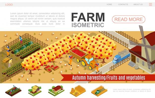 Modèle De Site Web Agricole Isométrique Avec Des Gens Qui Récoltent Des Légumes Pommes Moulin à Vent Tracteur Camion Balles De Foin Champ De Blé Poulets Porcs Vecteur gratuit