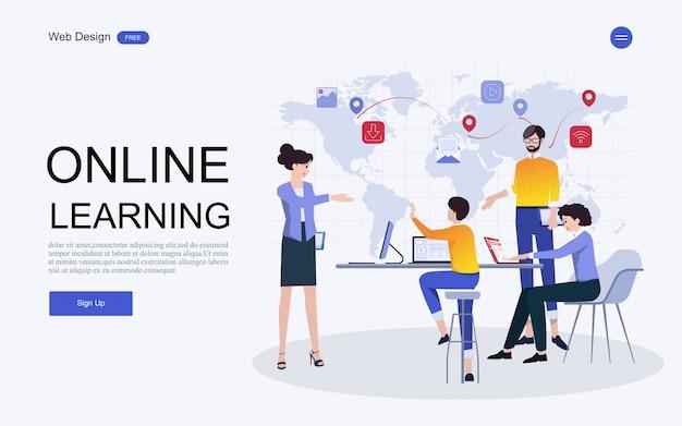 Modèle de site web d'éducation, de formation et de cours en ligne. Vecteur Premium