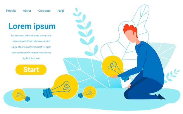 Modèle de site web de financement et de vote pour les meilleures idées Vecteur Premium