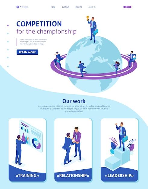 Modèle de site web isométrique page de destination homme d'affaires au sommet du monde, les entrepreneurs se font concurrence Vecteur Premium