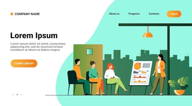 Modèle De Site Web, Page De Destination Avec Illustration Du Coach Parlant Devant Le Public Vecteur gratuit