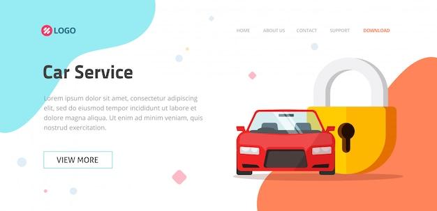 Modèle De Site Web De Service D'assurance Automobile Ou De Protection De Véhicule Vecteur Premium