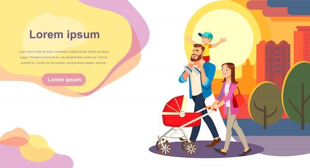 Modèle de site web de vecteur heureux jour de la famille de bande dessinée Vecteur Premium