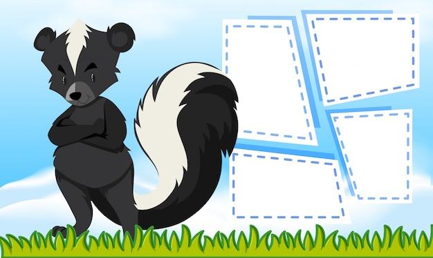 Un modèle de skunk sur une note Vecteur gratuit