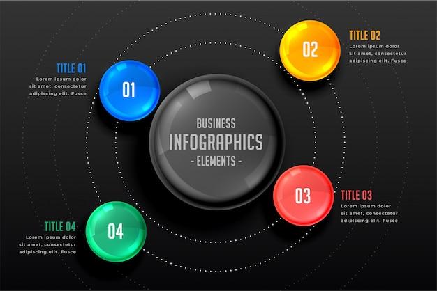 Modèle sombre d'infographie en quatre étapes Vecteur gratuit