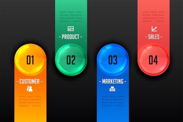 Modèle sombre de présentation infographique en quatre étapes Vecteur gratuit
