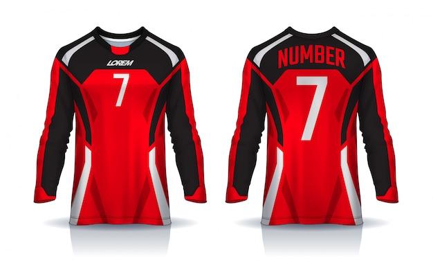 Modèle De Sport T-shirt, Maillot De Football à Manches Longues. Vecteur Premium