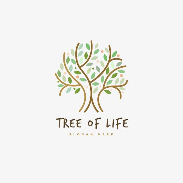 Modèle De Symbole De Logo Arbre Vie Contour Vecteur gratuit