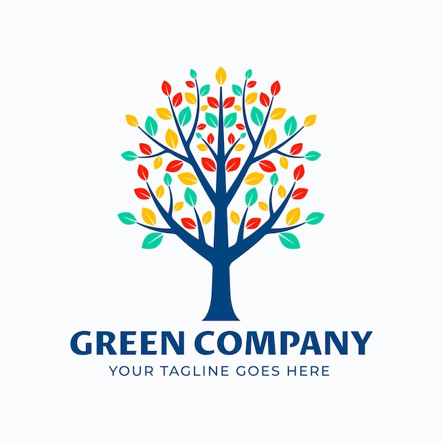Modèle De Symbole De Logo Arbre Vie Feuilles Colorées Vecteur Premium