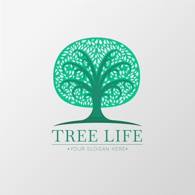 Modèle De Symbole De Logo Arbre Vie Verte Vecteur Premium