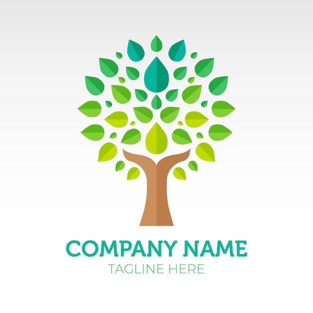 Modèle De Symbole De Logo Dégradé Vert Vie Arbre Vecteur Premium