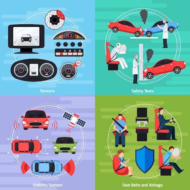 Modèle de systèmes de sécurité automobile Vecteur gratuit