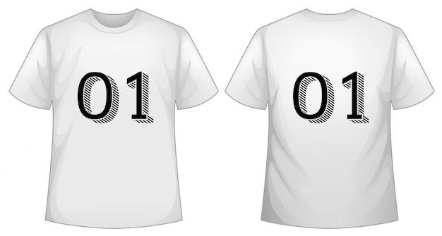 Modèle de t-shirt blanc avec devant et dos Vecteur gratuit