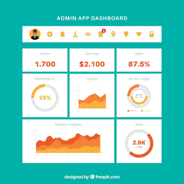Modèle de tableau de bord de l'application admin avec un design plat Vecteur gratuit
