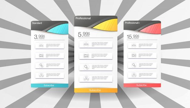 Modèle de tableau de prix avec 3 options Vecteur Premium