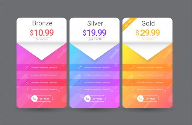 Modèle de tableau de prix moderne Vecteur Premium