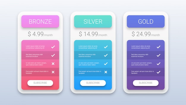 Modèle de tableau de tarification coloré moderne Vecteur Premium