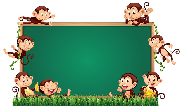 Modèle de tableau vide avec des singes mignons sur l'herbe Vecteur gratuit