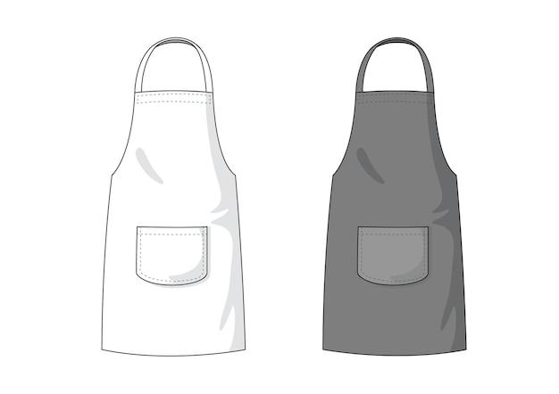 Modèle de tablier vide blanc et noir. Vecteur Premium