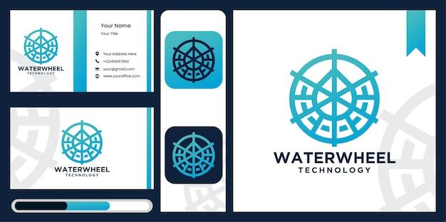 Modèle De Technologie De L'eau Logo Waterwheel Création De Logo Waterwheel. Vecteur Premium