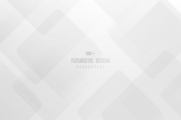 Modèle De Technologie à La Mode Abstraite D'illustration Carré Blanc Avec Arrière-plan De Conception En Demi-teinte. Vecteur Premium