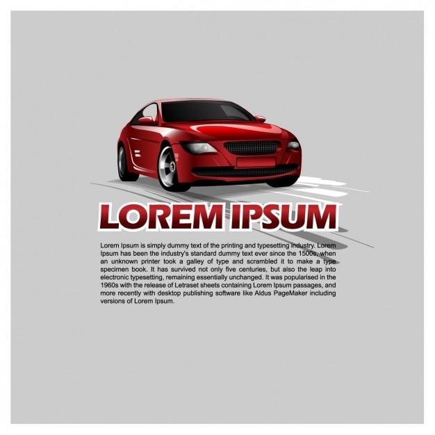 Modèle de texte avec une voiture Vecteur gratuit