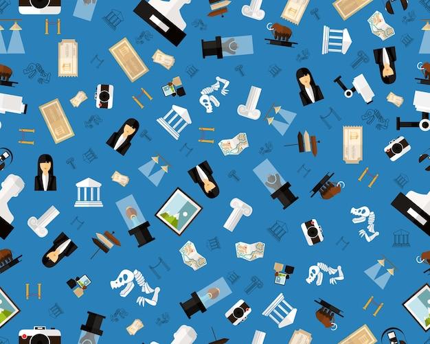 Modèle de texture transparente plat de vecteur musée et exposition. Vecteur Premium