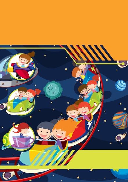 Un modèle avec le thème de l'espace des enfants Vecteur Premium