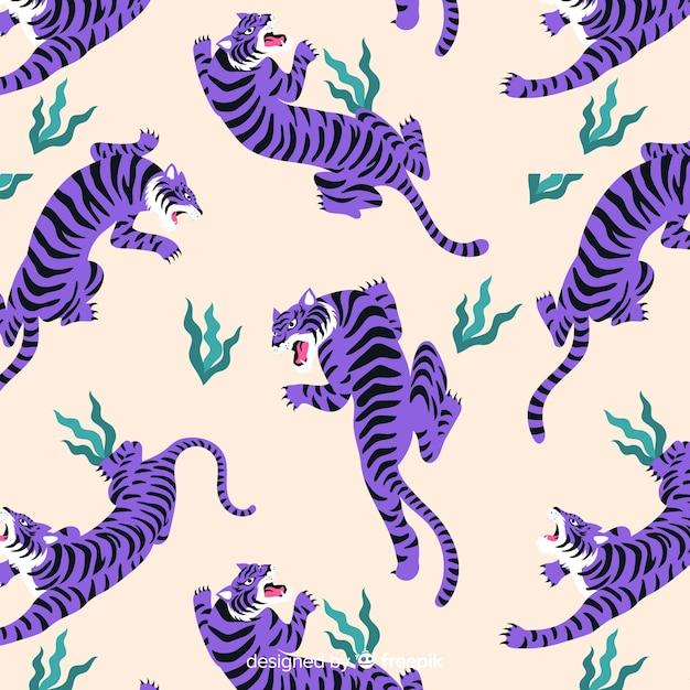Modèle de tigre vintage dessiné à la main Vecteur gratuit