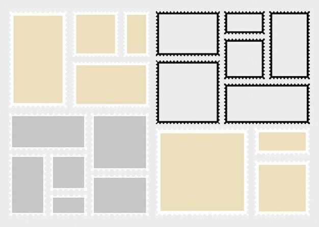 Modèle De Timbres-poste. Rectangle Vierge Et Timbres Carrés. | Vecteur Premium