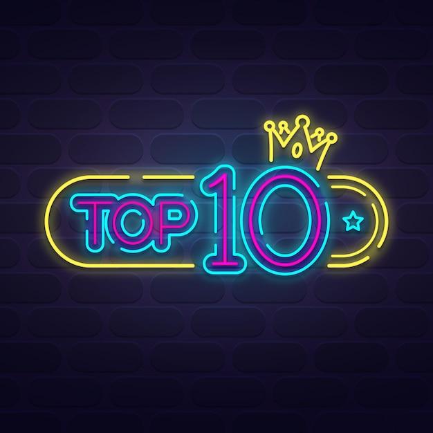 Modèle Top 10 Néon Vecteur Premium