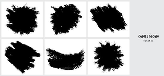 Modèle De Trait De Pinceau Grunge Noir Vecteur gratuit