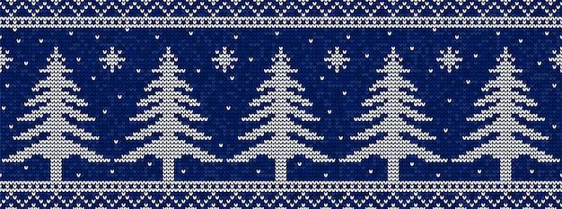 Modèle De Tricot De Noël Bleu Et Blanc Vecteur Premium