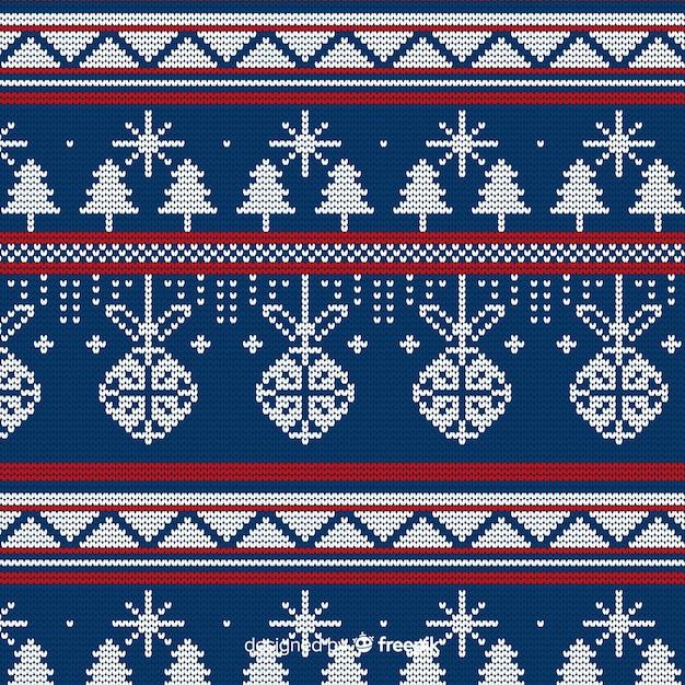 Modèle de tricot de noël Vecteur gratuit