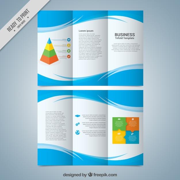 Modèle trifold d'affaires avec des formes abstraites bleu Vecteur gratuit