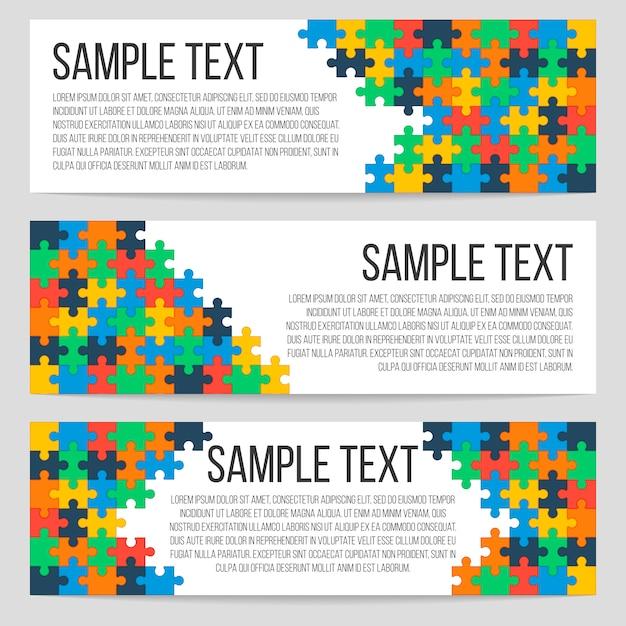 Modèle de trois bannières horizontales avec puzzle abstrait Vecteur Premium