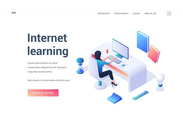 Modèle En Trois Dimensions De Page Web Avec Femme Au Bureau étudiant En Ligne Pour La Promotion Du Cours D'apprentissage Internet Sur Blanc Vecteur Premium