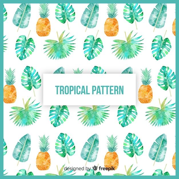 Modèle tropical aquarelle coloré Vecteur gratuit