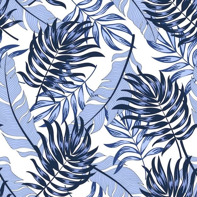 Modèle Tropical Sans Couture Branché Avec Des Plantes Et Des Feuilles Lumineuses Sur Fond Blanc Vecteur Premium