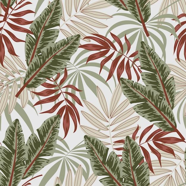 Modèle Tropical Sans Couture D'été Avec Des Feuilles Et Des Plantes Vecteur Premium