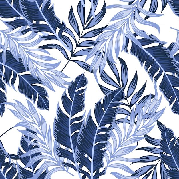 Modèle Tropical Sans Couture à La Mode Avec Des Plantes Et Des Feuilles Lumineuses Sur Fond Blanc Vecteur Premium