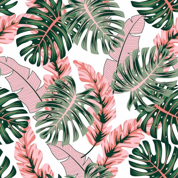 Modèle Tropical Sans Couture à La Mode Avec Des Plantes Et Des Feuilles Lumineuses Vecteur Premium