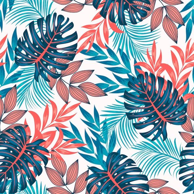 Modèle Tropical Sans Couture Original Avec Des Plantes Et Des Feuilles Lumineuses Sur Fond Clair Vecteur Premium