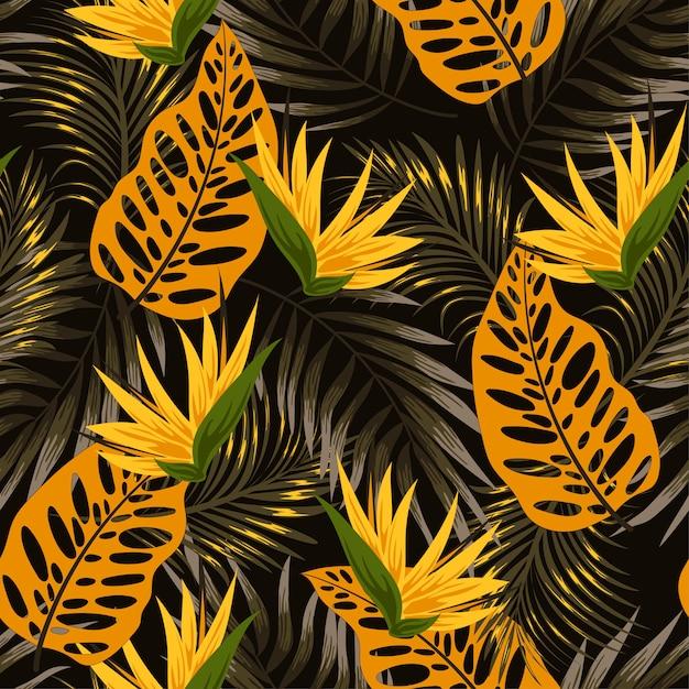 Modèle Tropical Sans Couture Original Avec Des Plantes Et Des Feuilles Lumineuses Sur Fond Noir Vecteur Premium