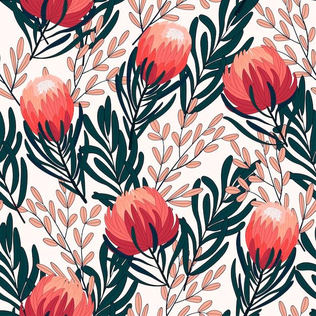 Modèle Tropical Sans Couture Original Avec Des Plantes Et Des Fleurs Lumineuses Sur Fond Blanc Vecteur Premium