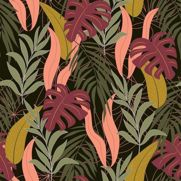 Modèle Tropical Sans Soudure Botanique Avec Plantes Et Feuilles Lumineuses Vecteur Premium