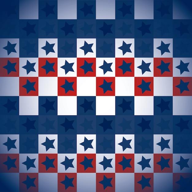 Modèle usa avec carrés et étoiles Vecteur gratuit