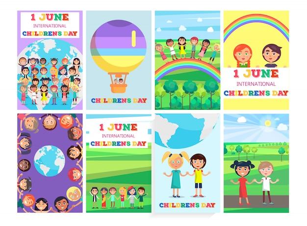 Modèle de vacances 1 juin avec la collection d'affiches colorées. bannière de vecteur de cartes de voeux pour la journée internationale des enfants Vecteur Premium