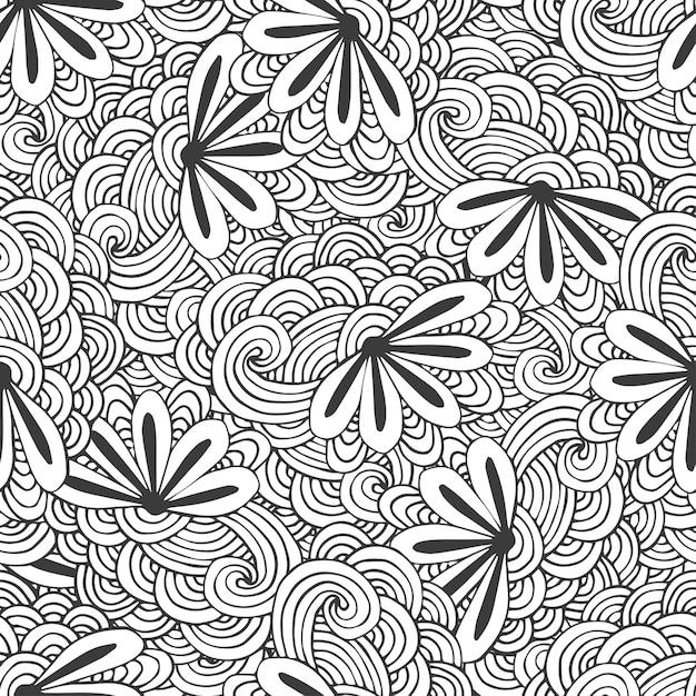 Modèle De Vagues Sans Couture Doodle Avec Des Fleurs En